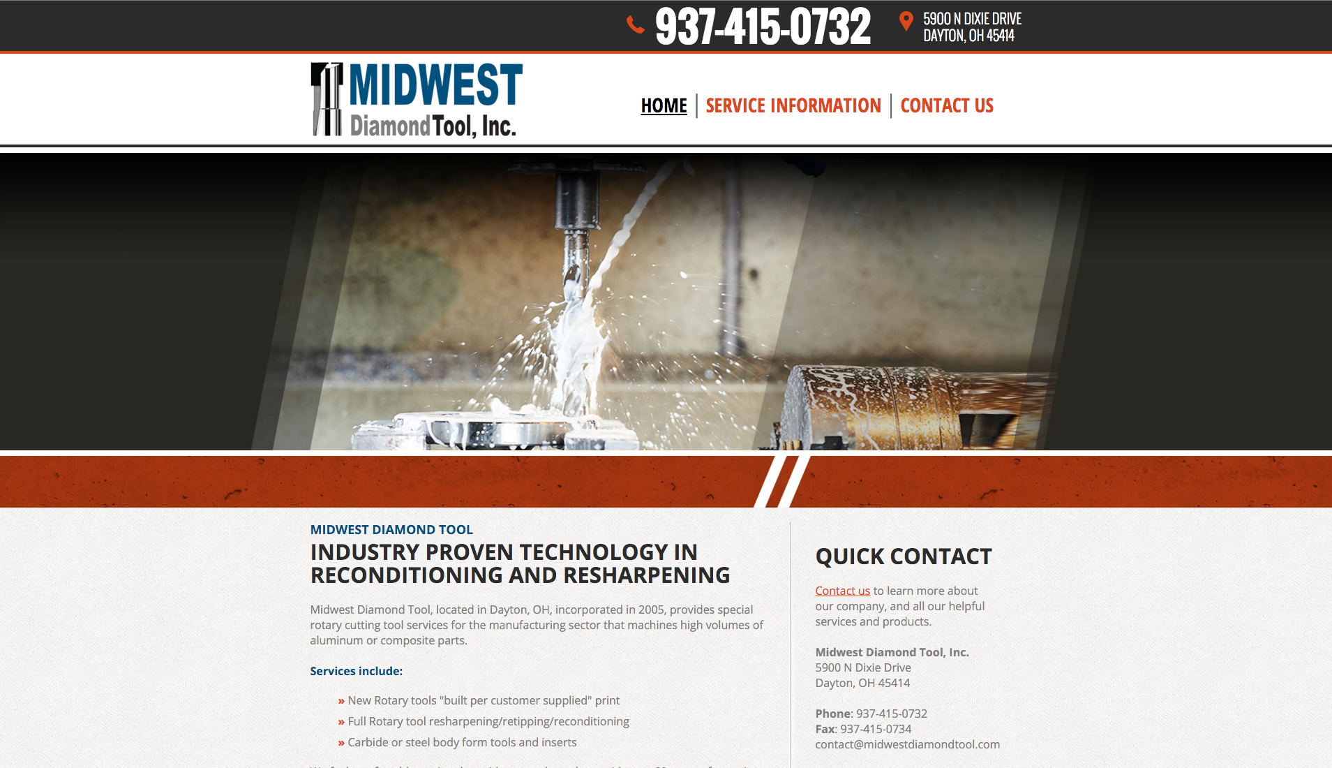 Website for Midwest Diamond Tool