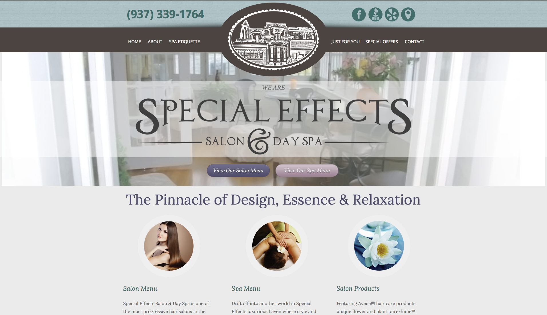 Website for Special Effects Salon & Day Spa